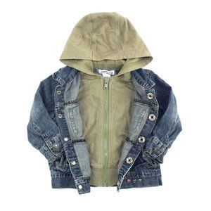 Roots jean jacket with attached faux hoodie